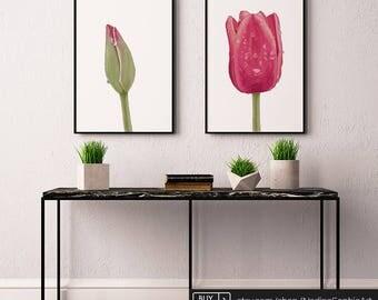 Tulip Print, Set of 2, Flower Wall Art, Flower Wall Decor, Floral Art, Living Room Wall Art, Bedroom Wall Art, Botanical Print, Floral Print