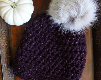 Amethyst Slightly Slouchy Crochet Hat