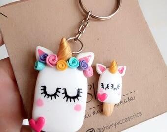full-size mini unicorn keychain
