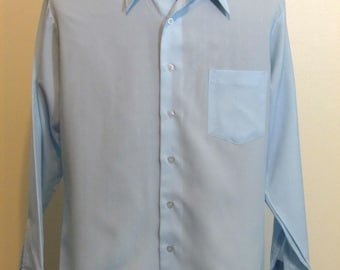 Vintage Kmart Permanent Press Blue Dress Shirt 15 1/2 33 Polyester Subtle Pattern Medium
