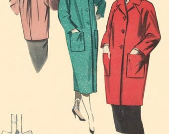 "Vintage 1950's Sewing Pattern Quick & Easy Coat B 34"" Reproduction"