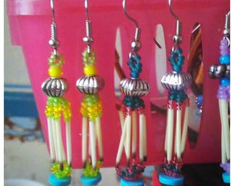 Handmade Porcupine Quill earrings with turquoise beads
