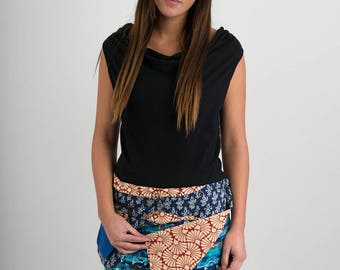 Reversible Cotton Skirt Blue Patch Red Block Print Detachable Pocket Mini Length