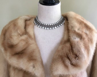 Vintage Blonde Mink Fur Stole Shrug Capelet Bolero 50s Style Women's Ladies Wedding Wrap