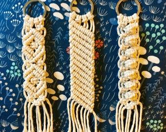 Macrame Key Chain Set of 3/ Zipper Pull/ Accessory/ Bag Charm/Free Shipping