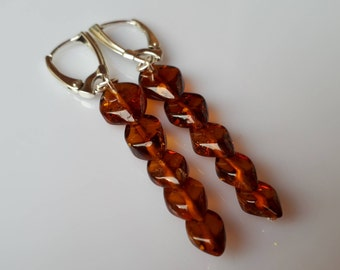 Genuine Baltic Amber Overlapping Cognac Earrings 925 Sterling Silver (010)