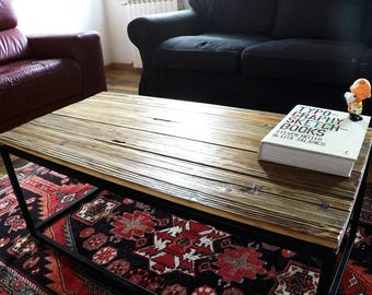 oSCURO ... handmade industrial style living room table made of iron and old wood from the late 1950s