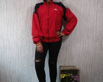 Red White and Blue Adidas Zip Up Windbreaker Jacket