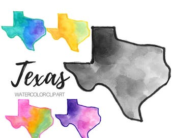Watercolor clip art - Texas Clip Art - State clip art - Watercolor state - Commercial use