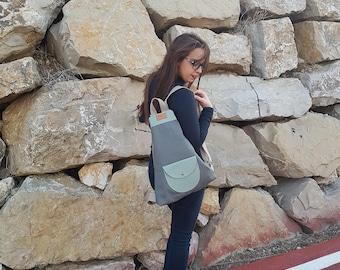 Triangular Backpack Gray Fabiola Ricci