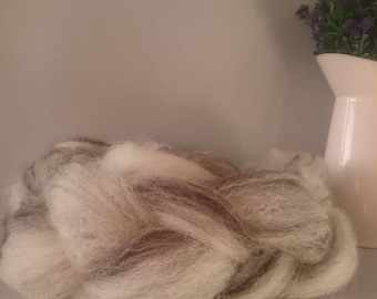 Undyed roving, wool roving, undyed wool, wool batt, combed wool top, un dyed wool, natural roving, natural wool craft, spin your own wool