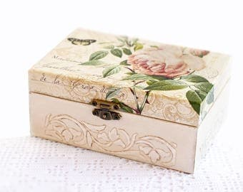 Wooden Jewelry Box Handmade Decoupage Beige Storage Box With Pink Roses For Home Decor