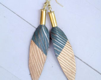 Free Spirit Bullet and Leather Drop Earrings