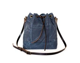Bucket Bag, Waxed Canvas Bag, Waxed Canvas Drawstring Bag, Waxed Canvas Crossbody Bag, Cross-Body Bag, Bucket Purse, Wax Canvas Shoulder Bag