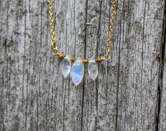 Sale, Marquise Moonstone Necklace, Moonstone Jewelry, Rainbow Flash, Moonstone Necklace, Delicate Necklace, Layer Necklace, 16K Gold Chain