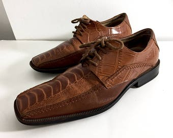Stacy Adams Honey Brown Reptile Leather Shoes 90s Vintage Men's 8.5 M Men's Size 9 Rich Brown Leather Oxford Dress Shoes With Square Toe
