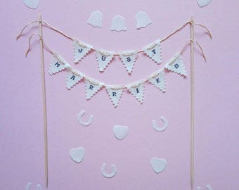 Just Married cake topper bunting / wedding cake topper bunting / just married sign / rustic wedding / just married banner /mini cake bunting
