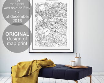 Chicago Map Print Chicago Illinois Map US City Map Print US - Chicago illinois on us map