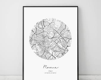 Circle Map Rome, Circle City Map, Circle Rome Map, Rome Map, Rome, Modern Rome Map, Rome Map Print, Roma Italia, Rome Italy Map, Italy Map