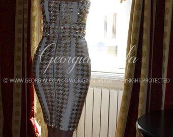 Swarovski Crystals Gold Chain Dress - GeorgiaLeyla Classic Glamour