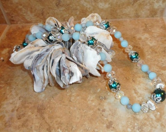 Beaded Necklace,Womens Jewelry,Jade Necklace,Gemstone Necklace,Blue Necklace,Gift for Her,Gift for Mom,Business Attire,Statement Piece