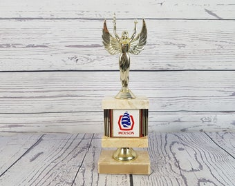Vintage Molson Canadian Beer Marble and Plastic Trophy Gift for Dad Men Boss Player Coach Win Winning Victory Sport Event Man Cave