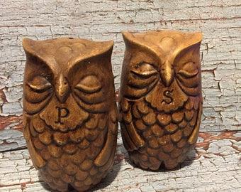 Vintage Ceramic Sleeping Owl Salt and Pepper Shakers