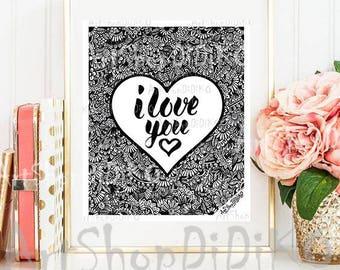 I love you, Digital Prints, Valentines Digital Prints, Printable prints, digital download, Love Decor, Digital print, instant download