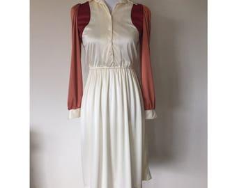 SALE!! 70's Teena Paige Long Sleeve Color Block Shirt Dress