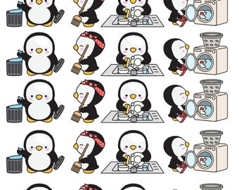 Penguins Doing Household Chores Planner Stickers - All Planner Sizes| Erin Condren| Recollections| Happy Planner| Plum Paper Planner