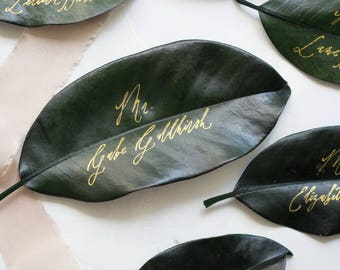 Calligraphy on Magnolia Leaf Place Cards / Vintage Pointed Pen Style