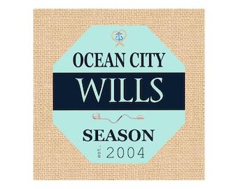 Jersey Shore Prints - Canvas - Avalon NJ - Housewarming Gift - Sea Isle City - Shore House Decor - Seafoam Green  - Navy - Canvas Name Sign