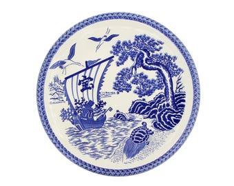 Blue White Dish Charger, Treasure Ship Plate, Minogame Turtle, Antique 1900s Plate Dish, Cranes and Pine Tree, Japan Imari Arita Large Dish
