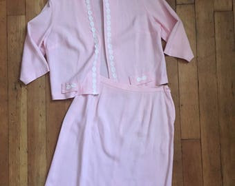 vintage 1960s dress set // 60s pink skirt and jacket set