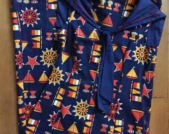vintage 1960s nautical print dress // 60s sailor collar day dress
