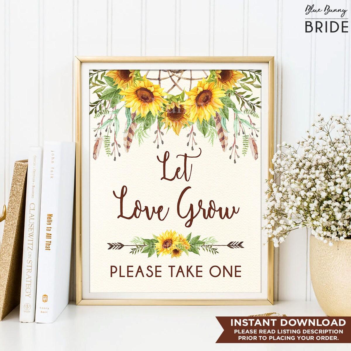 Let Love Grow Sign. Boho Sunflower Bridal Shower Printable. Rustic ...