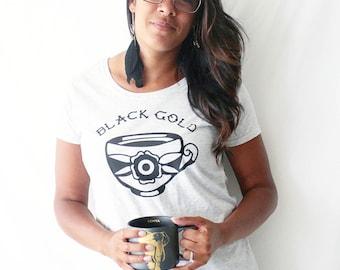 Coffee shirt, black gold shirt, coffee lover, tattoo shirt, classic tattoo art, old school shirt, hipster gift, gift for tattoo lovers