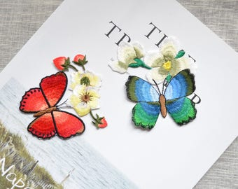 Butterfly patch ,Iron-on blue red butterfly  patch ,butterfly embroidered patch