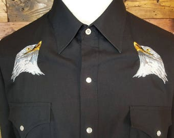 Ely Cattleman Men's Vintage Long Sleeve Pearl Snap Western Shirt With Eagle Embroidery Size Extra Large