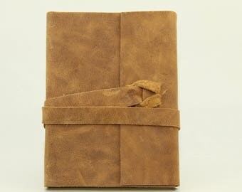 Notebook in brown leather with leather strap for wrapping, journal, leather, pocketbook, blank book in DIN A6