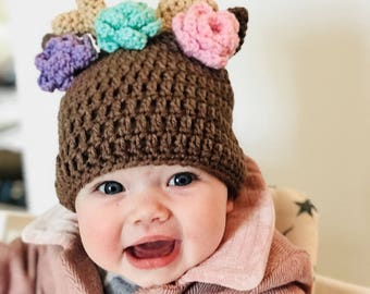 Baby deer hat, Deer hat with flowers, Deer hat, Deer baby, Newborn deer hat, Deer antler hat, Baby girl deer hat, Crochet deer hat, Fawn hat