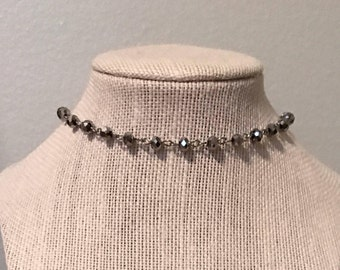 Silver Chain Choker with Silver Beads