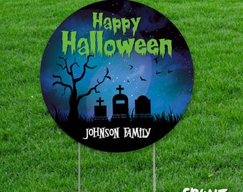 personalized halloween yard sign circle shaped halloween yard decorations custom halloween decoration halloween - Personalized Halloween Decorations