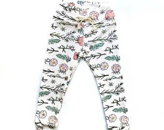 Floral Leggings // Botanical Leggings // Organic Leggings // Baby Girl Leggings // Toddler Girl Leggings // Girl Leggings