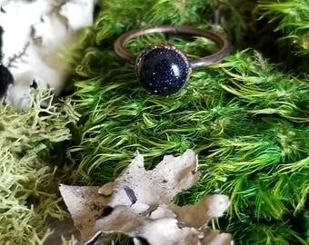 Copper Electroformed Blue Goldstone Ring | Blue Sunstone Ring