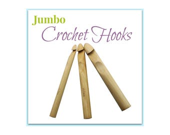 Jumbo Crochet Needles, Individual Crochet Hooks, Huge Bamboo Crochet Hooks,