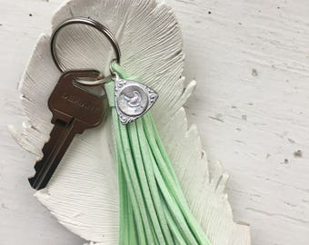 Suede Tassel Silver Keychain with Chicken Charm