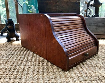 Vintage Wooden Desk Stationary Cabinet | Wood File Cabinet | Globe Wernicke Desk Organizer | Roll Up Desk Cabinet | Mid Century Organizer