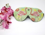 Organic FLAMINGO Eye Mask | Sleep Aid Wellbeing | Cotton Bamboo Tropical Pink Photoprint Relax Spa Plane Travel Luxury Gift Woman Her Vegan