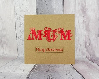Christmas card for Mum, Colour choice: Red, Green, Blue etc. foiled card, Handmade Christmas card, Special font, Candle, Stocking, Kraft